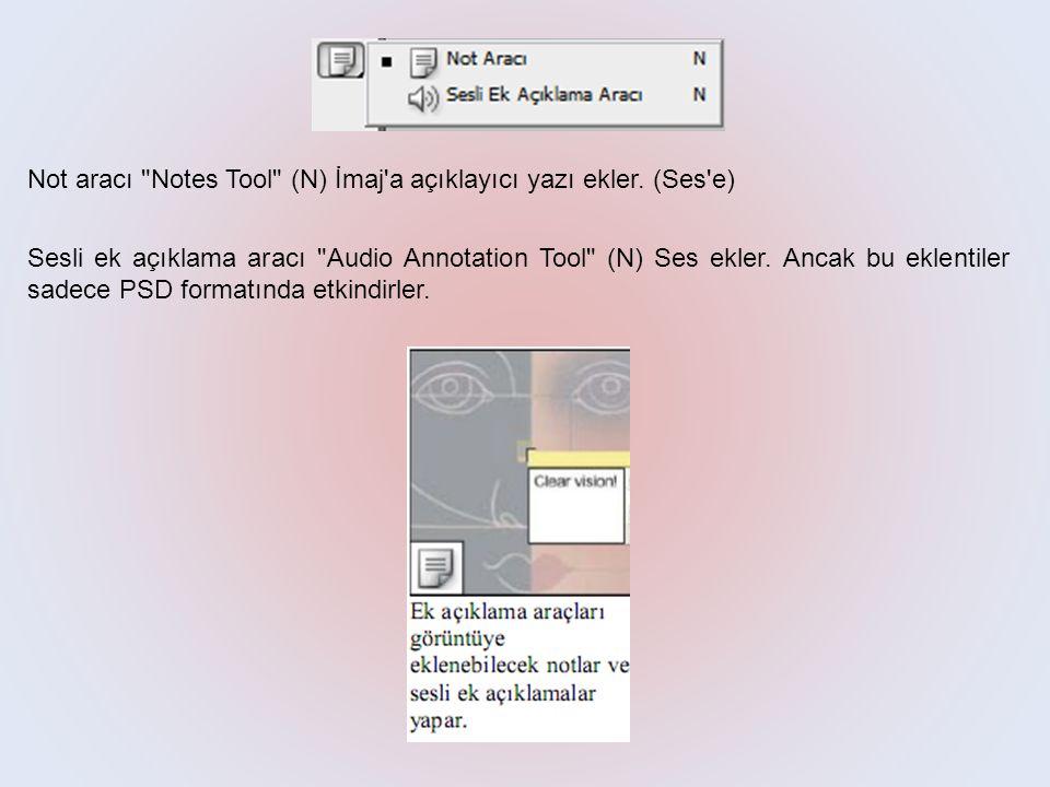 Not aracı Notes Tool (N) İmaj a açıklayıcı yazı ekler.