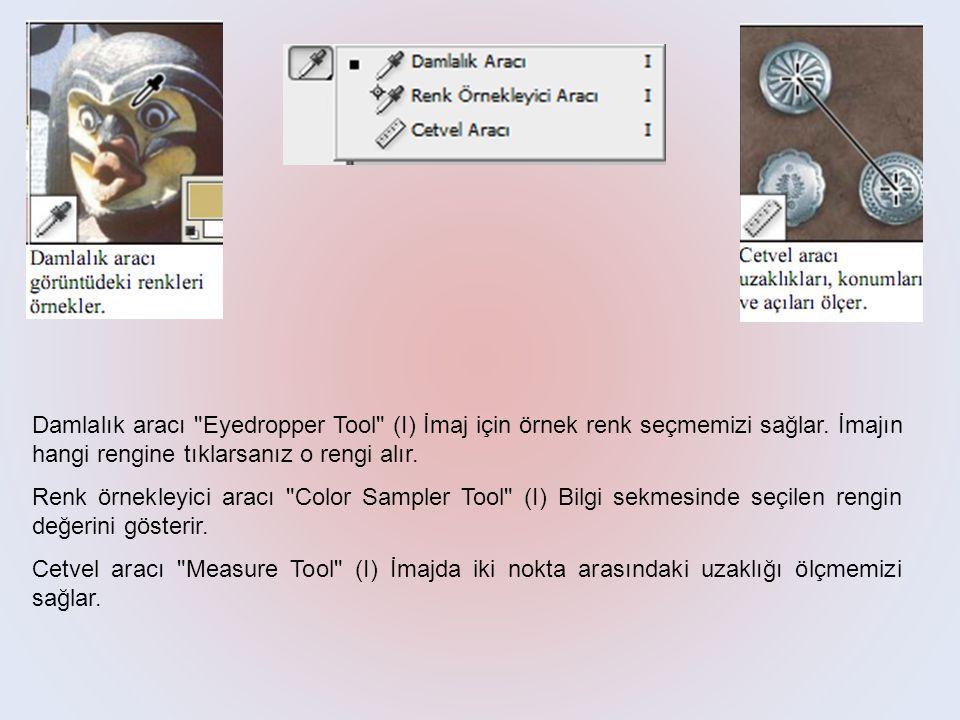 Damlalık aracı Eyedropper Tool (I) İmaj için örnek renk seçmemizi sağlar.