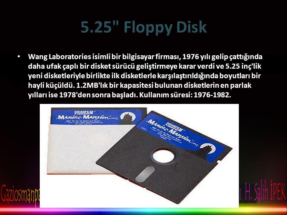 5.25 Floppy Disk • Wang Laboratories isimli bir bilgisayar firması, 1976 yılı gelip çattığında daha ufak çaplı bir disket sürücü geliştirmeye karar verdi ve 5.25 inç lik yeni disketleriyle birlikte ilk disketlerle karşılaştırıldığında boyutları bir hayli küçüldü.