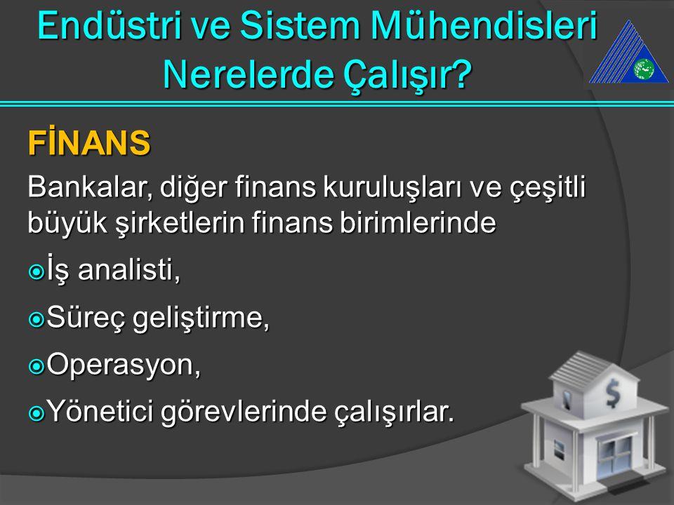 FİNANS Bankalar, diğer finans kuruluşları ve çeşitli büyük şirketlerin finans birimlerinde  İş analisti,  Süreç geliştirme,  Operasyon,  Yönetici