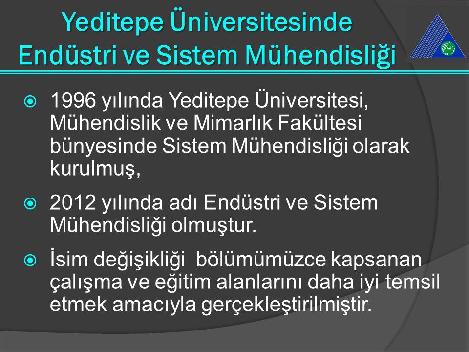  1996 yılında Yeditepe Üniversitesi, Mühendislik ve Mimarlık Fakültesi bünyesinde Sistem Mühendisliği olarak kurulmuş,  2012 yılında adı Endüstri ve