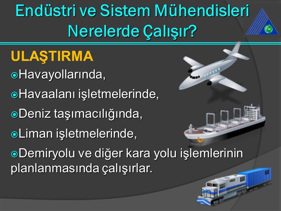 ULAŞTIRMA  Havayollarında,  Havaalanı işletmelerinde,  Deniz taşımacılığında,  Liman işletmelerinde,  Demiryolu ve diğer kara yolu işlemlerinin p