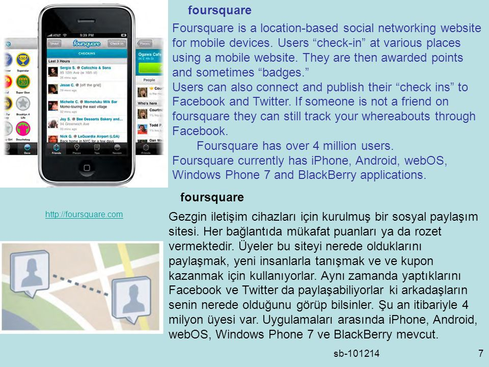 sb-1012148 Facebook places is similar to Foursquare in that it gives an individual's location when the users posts information using a mobile application.
