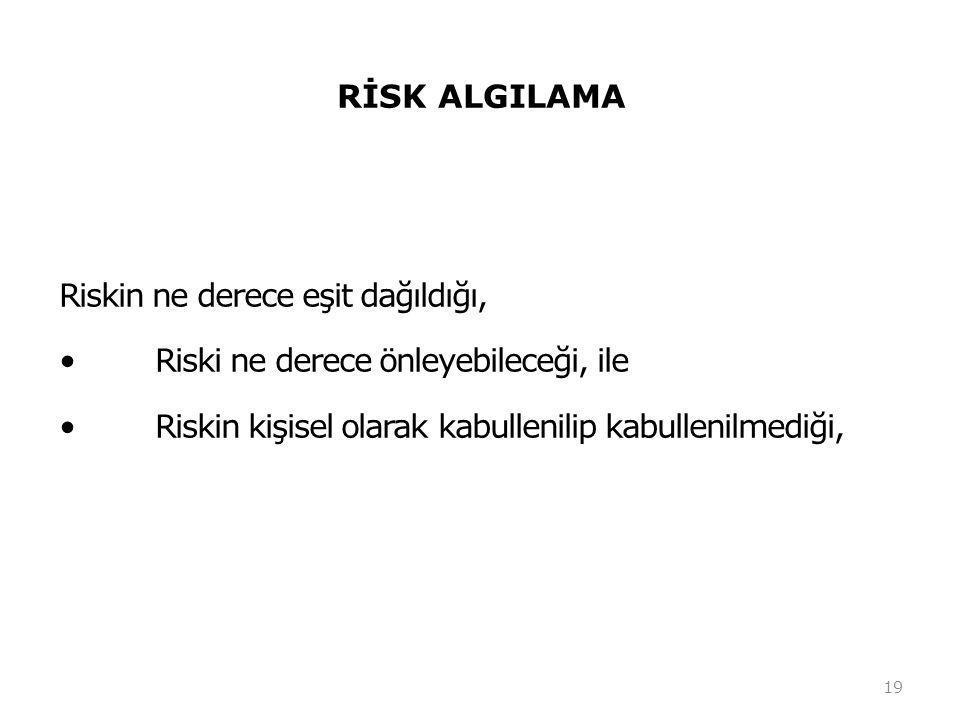 RİSK ALGILAMA Riskin ne derece eşit dağıldığı, •Riski ne derece önleyebileceği, ile •Riskin kişisel olarak kabullenilip kabullenilmediği, 19