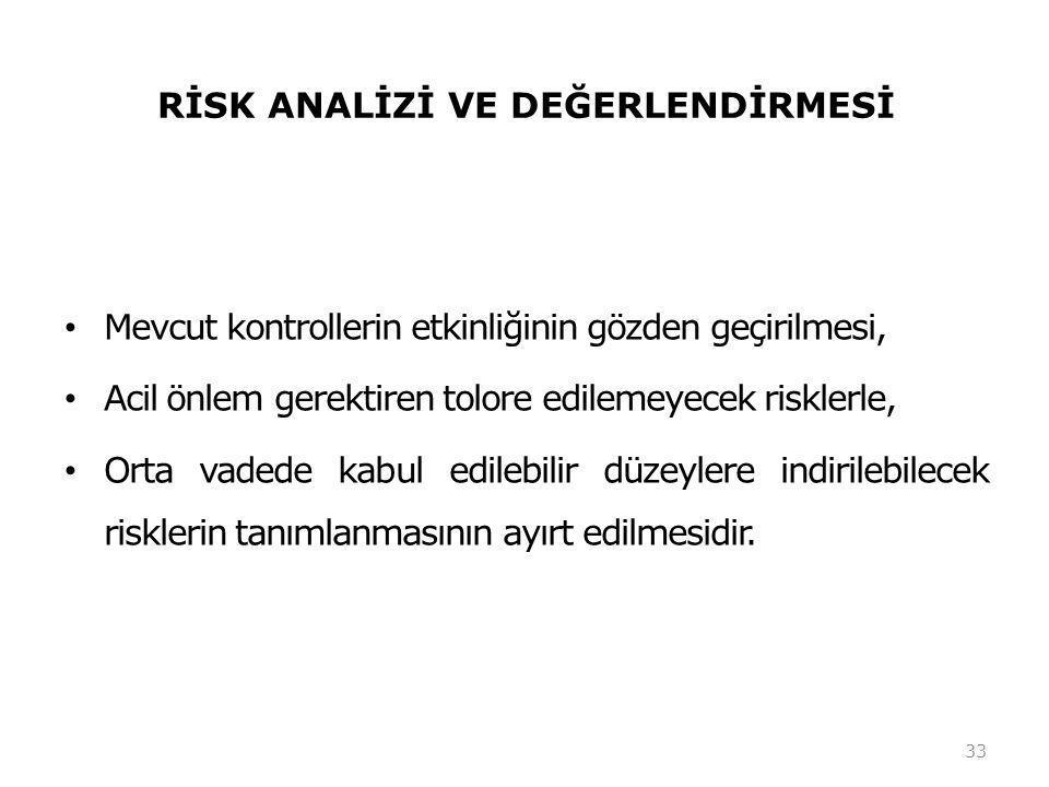 RİSK ANALİZİ VE DEĞERLENDİRMESİ • Mevcut kontrollerin etkinliğinin gözden geçirilmesi, • Acil önlem gerektiren tolore edilemeyecek risklerle, • Orta vadede kabul edilebilir düzeylere indirilebilecek risklerin tanımlanmasının ayırt edilmesidir.