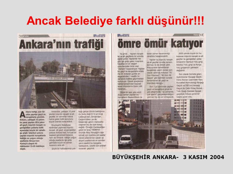 BÜYÜKŞEHİR ANKARA- 3 KASIM 2004 Ancak Belediye farklı düşünür!!!