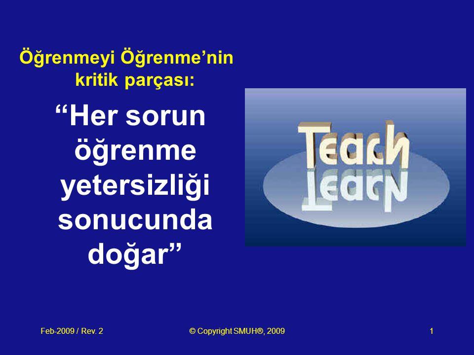 """Feb-2009 / Rev. 2© Copyright SMUH®, 20091 Öğrenmeyi Öğrenme'nin kritik parçası: """"Her sorun öğrenme yetersizliği sonucunda doğar"""""""