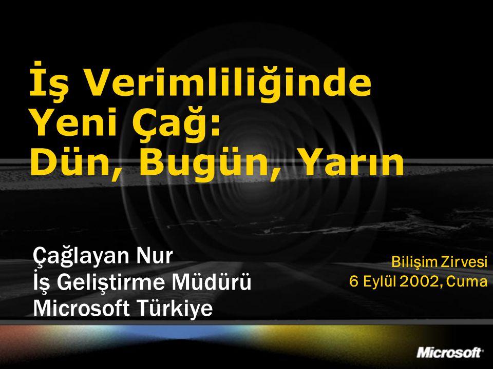 İş Verimliliğinde Yeni Çağ: Dün, Bugün, Yarın Çağlayan Nur İş Geliştirme Müdürü Microsoft Türkiye Bilişim Zirvesi 6 Eylül 2002, Cuma