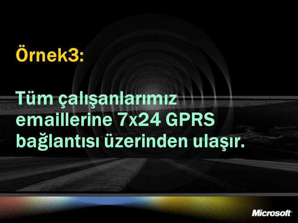 Örnek3: Tüm çalışanlarımız emaillerine 7x24 GPRS bağlantısı üzerinden ulaşır.