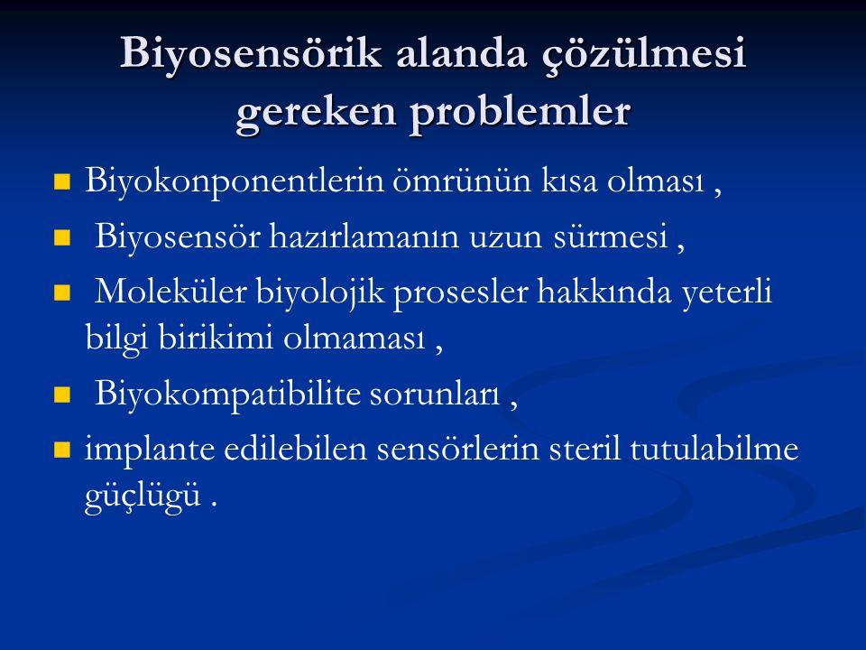 Biyosensörik alanda çözülmesi gereken problemler   Biyokonponentlerin ömrünün kısa olması,   Biyosensör hazırlamanın uzun sürmesi,   Moleküler b
