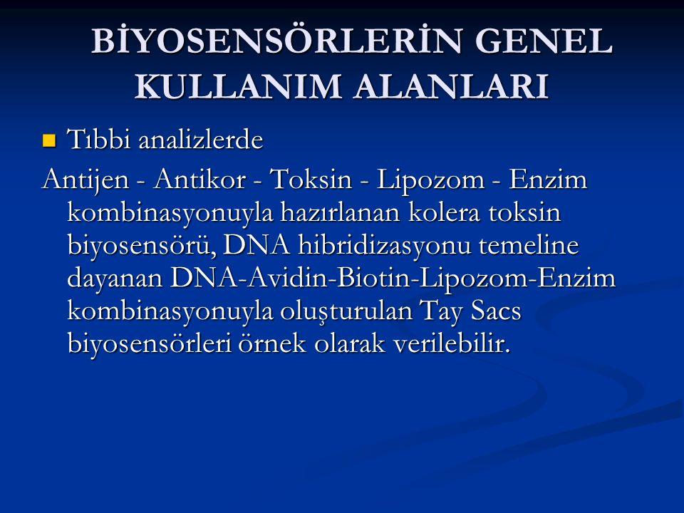 BİYOSENSÖRLERİN GENEL KULLANIM ALANLARI BİYOSENSÖRLERİN GENEL KULLANIM ALANLARI  Tıbbi analizlerde Antijen - Antikor - Toksin - Lipozom - Enzim kombinasyonuyla hazırlanan kolera toksin biyosensörü, DNA hibridizasyonu temeline dayanan DNA-Avidin-Biotin-Lipozom-Enzim kombinasyonuyla oluşturulan Tay Sacs biyosensörleri örnek olarak verilebilir.