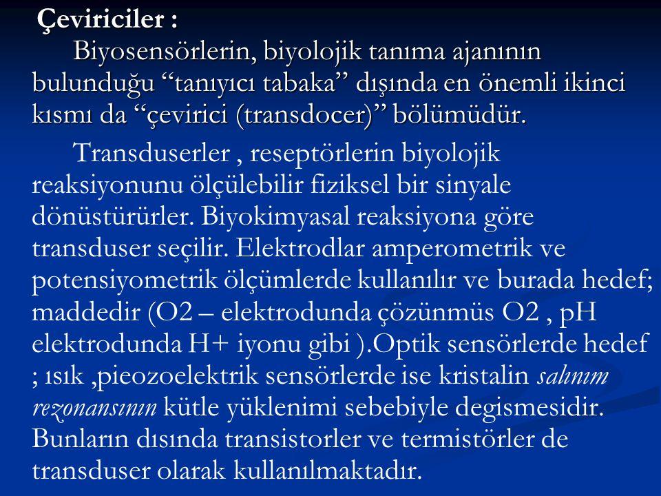 """Çeviriciler : Biyosensörlerin, biyolojik tanıma ajanının bulunduğu """"tanıyıcı tabaka"""" dışında en önemli ikinci kısmı da """"çevirici (transdocer)"""" bölümüd"""