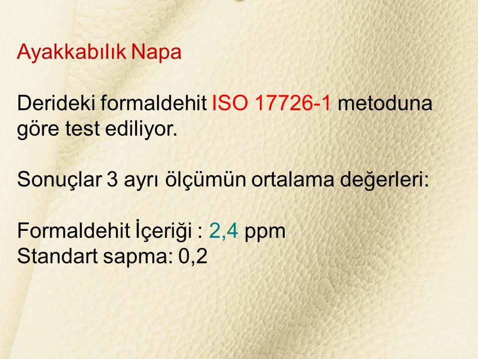 Ayakkabılık Napa Derideki formaldehit ISO 17726-1 metoduna göre test ediliyor. Sonuçlar 3 ayrı ölçümün ortalama değerleri: Formaldehit İçeriği : 2,4 p