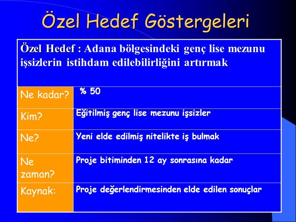 Özel Hedef Göstergeleri Özel Hedef : Özel Hedef : Adana bölgesindeki genç lise mezunu işsizlerin istihdam edilebilirliğini artırmak Ne kadar? % 50 Kim