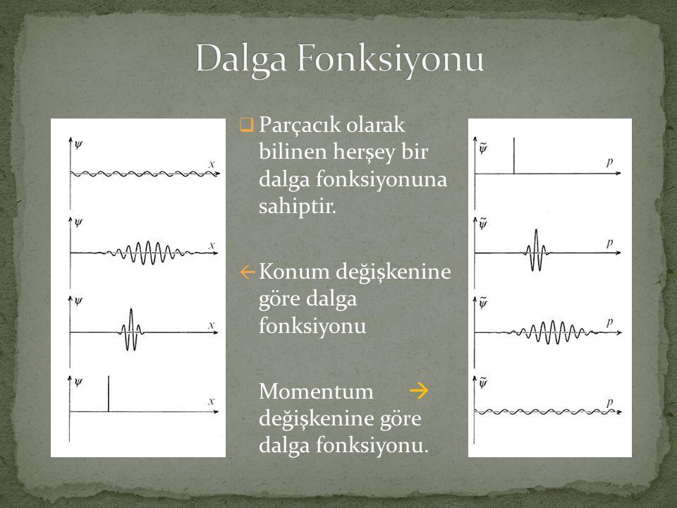  Parçacık olarak bilinen herşey bir dalga fonksiyonuna sahiptir.