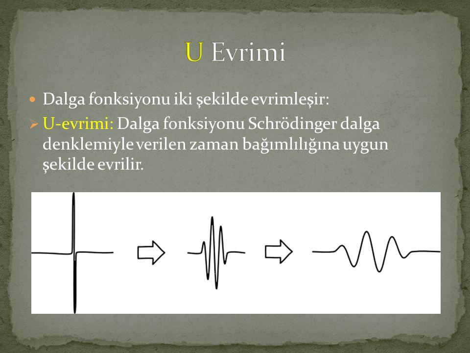  Dalga fonksiyonu iki şekilde evrimleşir:  U-evrimi: Dalga fonksiyonu Schrödinger dalga denklemiyle verilen zaman bağımlılığına uygun şekilde evrilir.