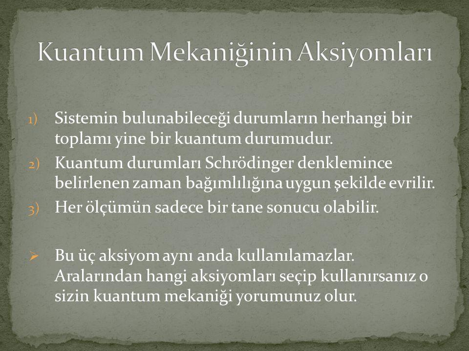 1) Sistemin bulunabileceği durumların herhangi bir toplamı yine bir kuantum durumudur.