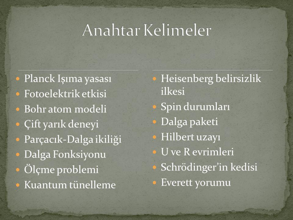  Planck Işıma yasası  Fotoelektrik etkisi  Bohr atom modeli  Çift yarık deneyi  Parçacık-Dalga ikiliği  Dalga Fonksiyonu  Ölçme problemi  Kuantum tünelleme  Heisenberg belirsizlik ilkesi  Spin durumları  Dalga paketi  Hilbert uzayı  U ve R evrimleri  Schrödinger'in kedisi  Everett yorumu