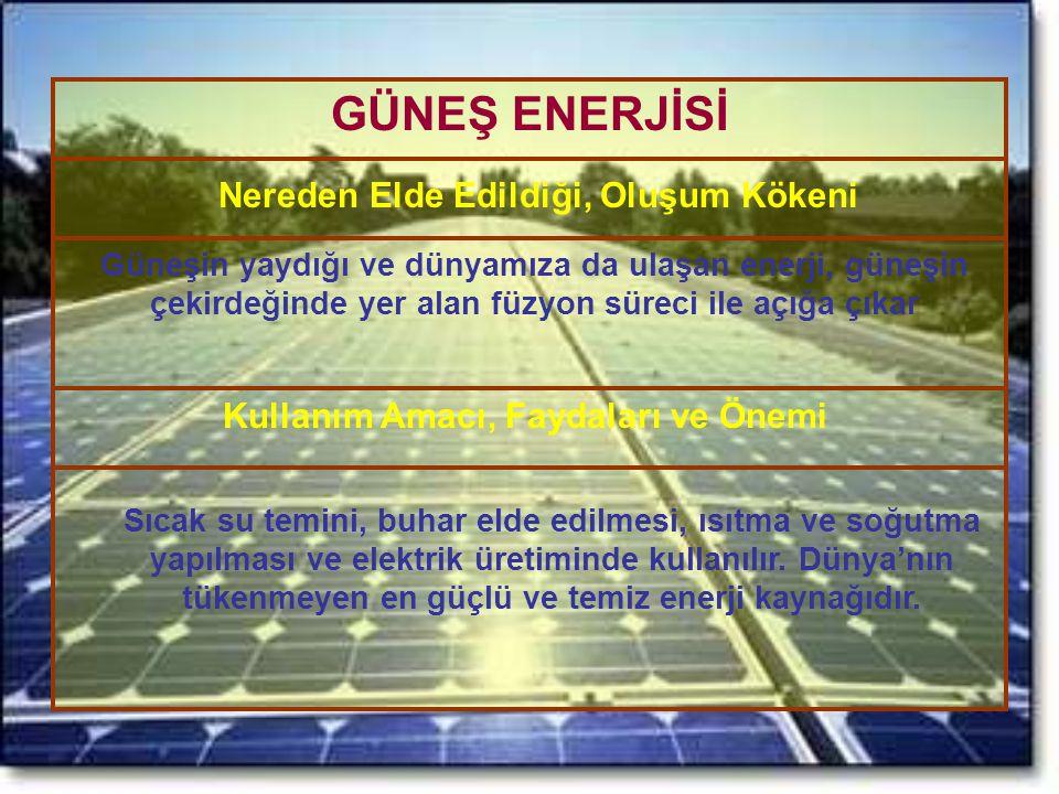 GÜNEŞ ENERJİSİ Nereden Elde Edildiği, Oluşum Kökeni Kullanım Amacı, Faydaları ve Önemi Güneşin yaydığı ve dünyamıza da ulaşan enerji, güneşin çekirdeğ