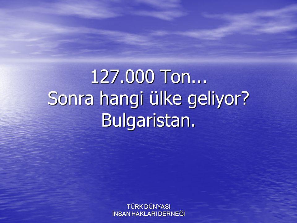 TÜRK DÜNYASI İNSAN HAKLARI DERNEĞİ 127.000 Ton... Sonra hangi ülke geliyor? Bulgaristan.