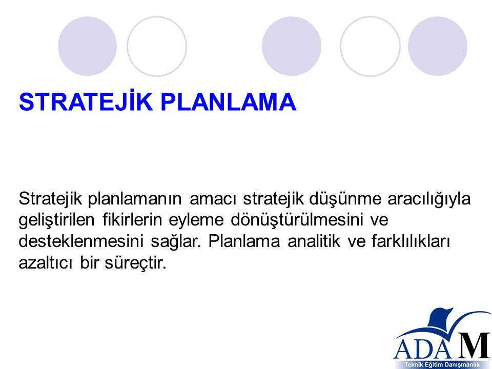 Stratejik planlamanın amacı stratejik düşünme aracılığıyla geliştirilen fikirlerin eyleme dönüştürülmesini ve desteklenmesini sağlar.