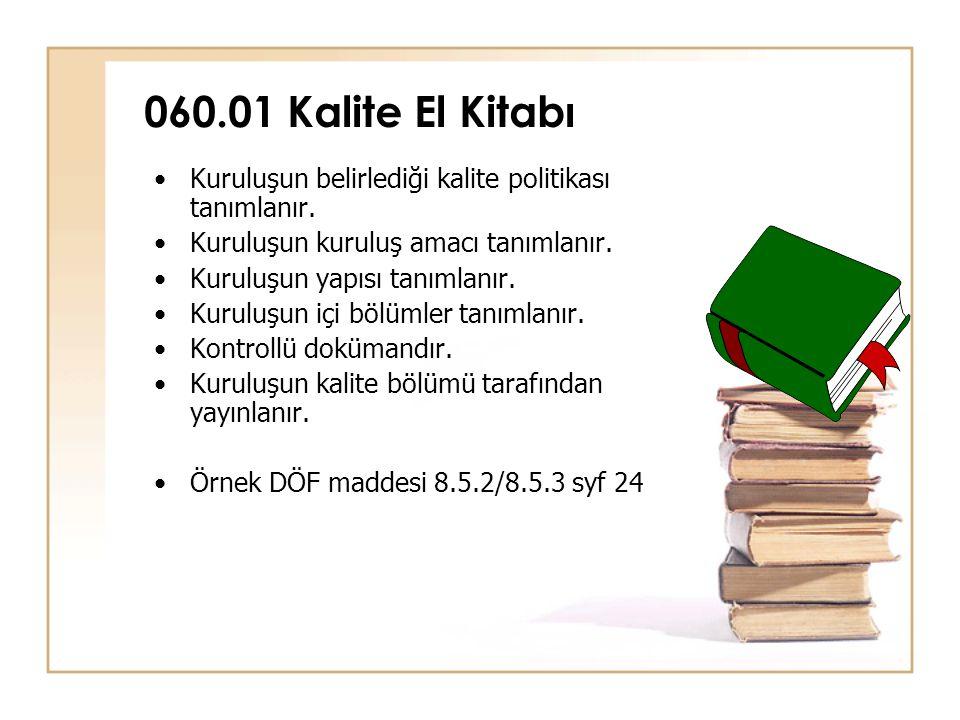 060.01 Kalite El Kitabı •Kuruluşun belirlediği kalite politikası tanımlanır. •Kuruluşun kuruluş amacı tanımlanır. •Kuruluşun yapısı tanımlanır. •Kurul