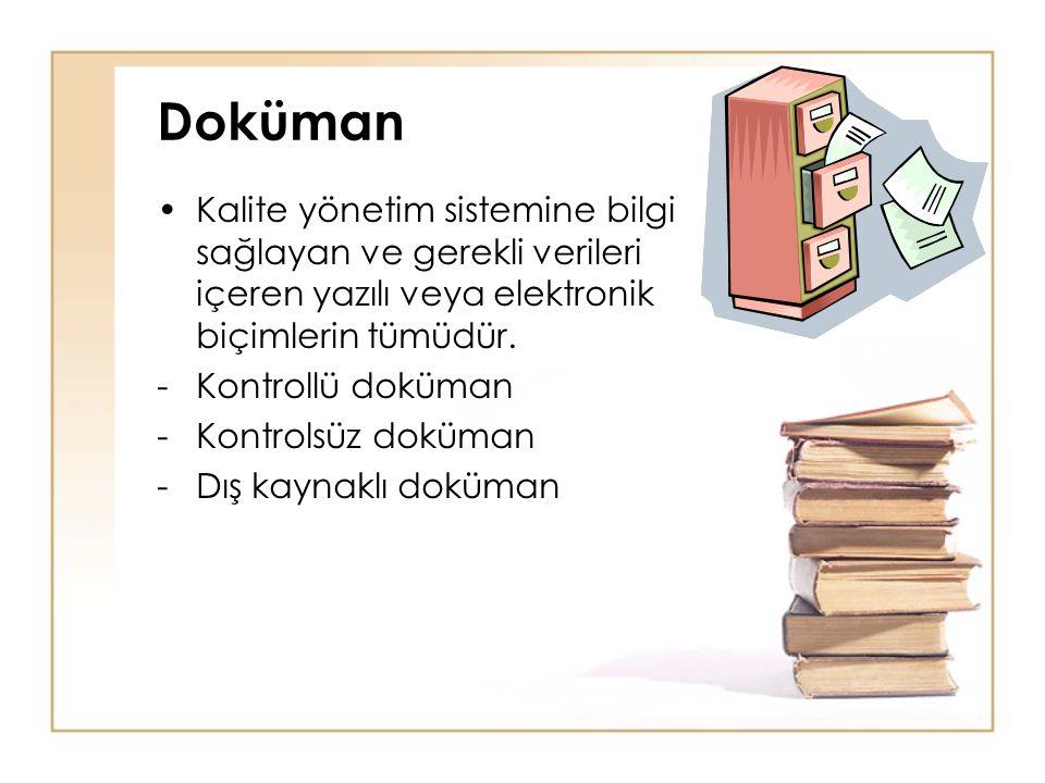 Doküman •Kalite yönetim sistemine bilgi sağlayan ve gerekli verileri içeren yazılı veya elektronik biçimlerin tümüdür. -Kontrollü doküman -Kontrolsüz