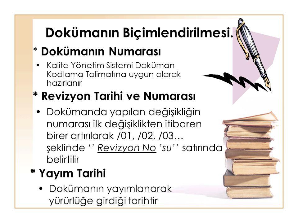 Dokümanın Biçimlendirilmesi. •Kalite Yönetim Sistemi Doküman Kodlama Talimatına uygun olarak hazırlanır * Dokümanın Numarası * Revizyon Tarihi ve Numa