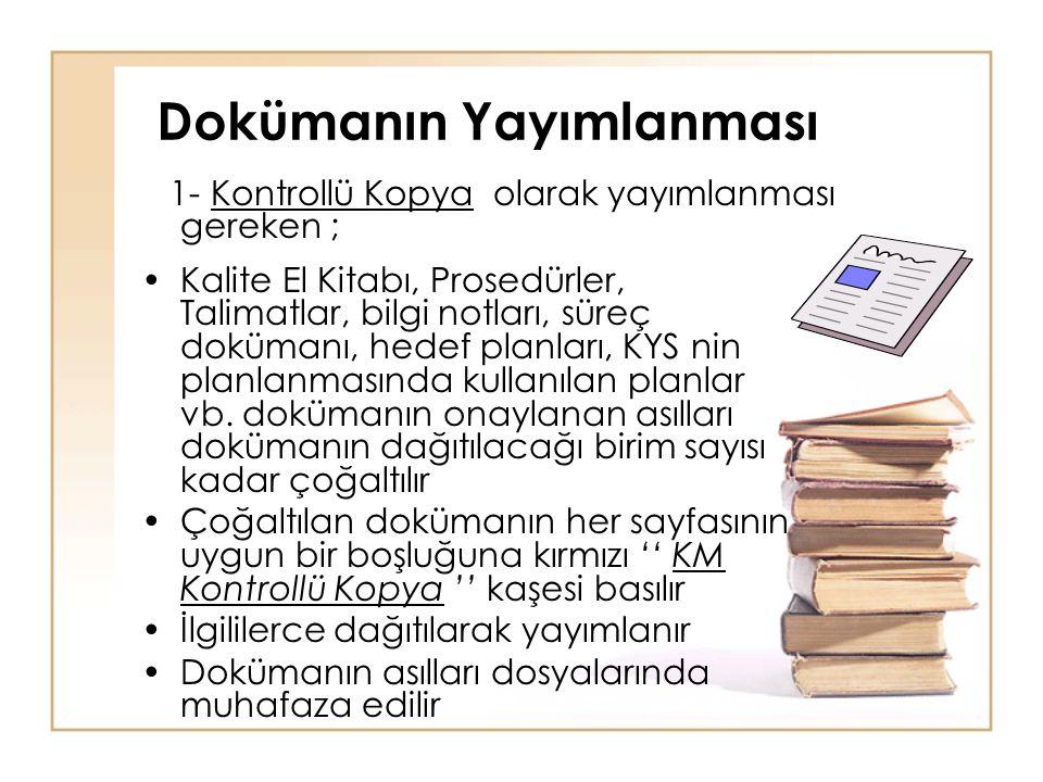 Dokümanın Yayımlanması •Kalite El Kitabı, Prosedürler, Talimatlar, bilgi notları, süreç dokümanı, hedef planları, KYS nin planlanmasında kullanılan pl