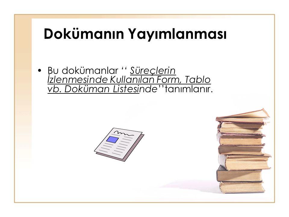 Dokümanın Yayımlanması •Bu dokümanlar '' Süreçlerin İzlenmesinde Kullanılan Form, Tablo vb. Doküman Listesinde''tanımlanır.