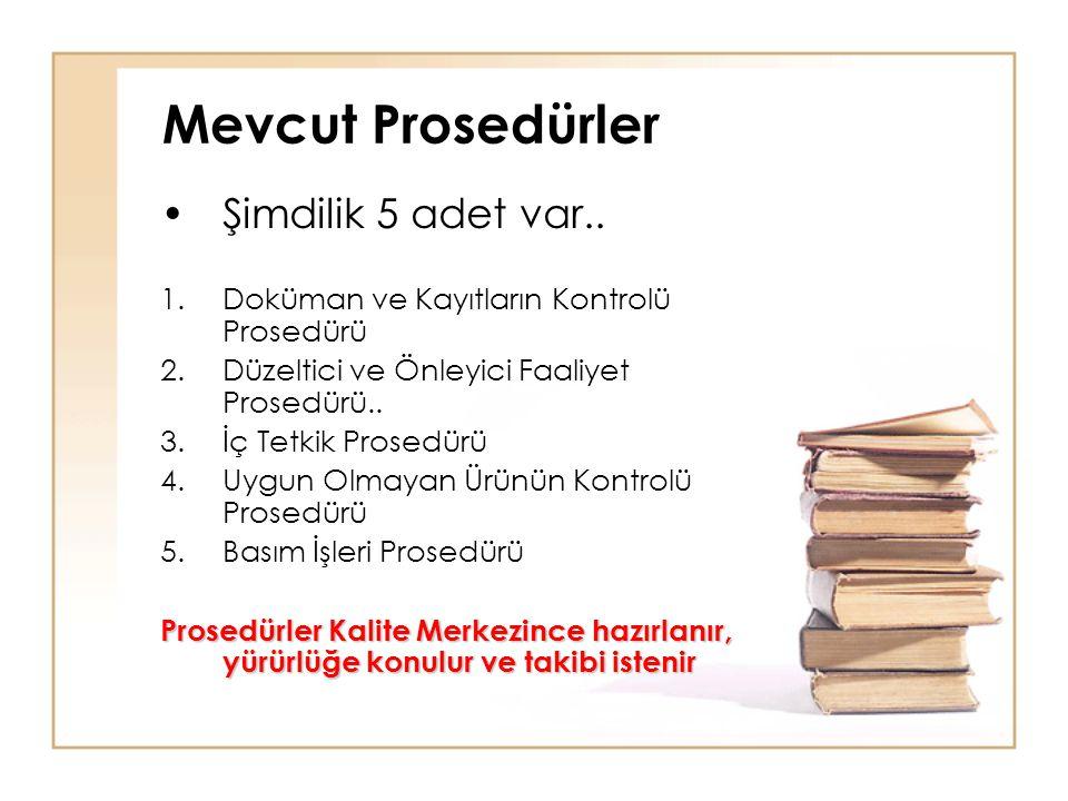 Mevcut Prosedürler •Şimdilik 5 adet var.. 1.Doküman ve Kayıtların Kontrolü Prosedürü 2.Düzeltici ve Önleyici Faaliyet Prosedürü.. 3.İç Tetkik Prosedür