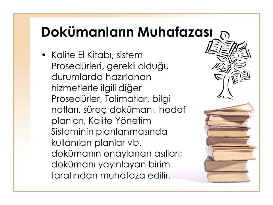 •Kalite El Kitabı, sistem Prosedürleri, gerekli olduğu durumlarda hazırlanan hizmetlerle ilgili diğer Prosedürler, Talimatlar, bilgi notları, süreç do