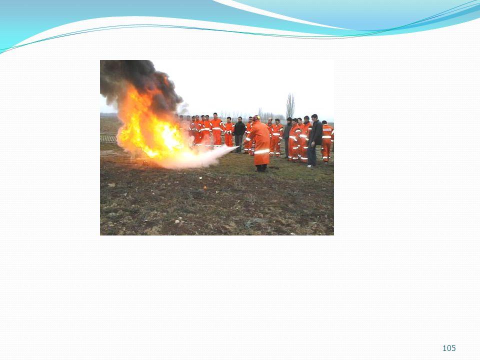 Uygulama  Alarm tahliye denemeleri  Denemelerde aksayan yönler  Sektördeki benzer olayların incelenmesi 104