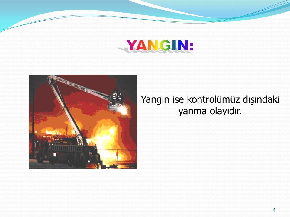 4 Yangın ise kontrolümüz dışındaki yanma olayıdır.