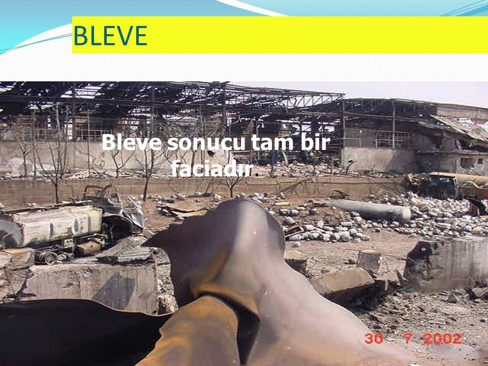 BLEVE 73 Bleve olayını önleyecek tek unsur tanktaki basıncın yeterli hızla boşalmasıdır.