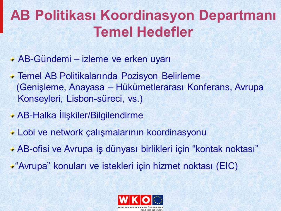 AB-Gündemi – izleme ve erken uyarı Temel AB Politikalarında Pozisyon Belirleme (Genişleme, Anayasa – Hükümetlerarası Konferans, Avrupa Konseyleri, Lisbon-süreci, vs.) AB-Halka İlişkiler/Bilgilendirme Lobi ve network çalışmalarının koordinasyonu AB-ofisi ve Avrupa iş dünyası birlikleri için kontak noktası Avrupa konuları ve istekleri için hizmet noktası (EIC) AB Politikası Koordinasyon Departmanı Temel Hedefler