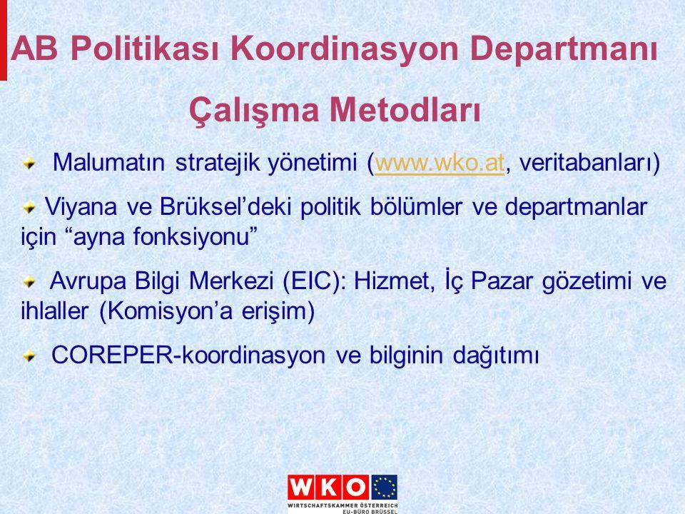 Malumatın stratejik yönetimi (www.wko.at, veritabanları)www.wko.at Viyana ve Brüksel'deki politik bölümler ve departmanlar için ayna fonksiyonu Avrupa Bilgi Merkezi (EIC): Hizmet, İç Pazar gözetimi ve ihlaller (Komisyon'a erişim) COREPER-koordinasyon ve bilginin dağıtımı AB Politikası Koordinasyon Departmanı Çalışma Metodları