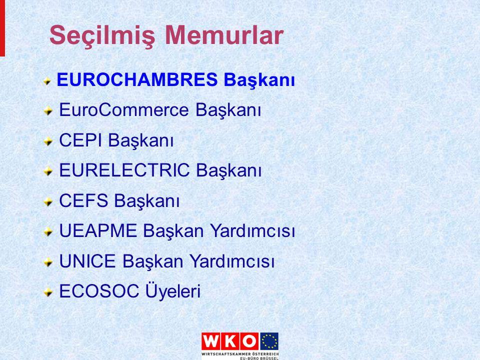 Seçilmiş Memurlar EUROCHAMBRES Başkanı EuroCommerce Başkanı CEPI Başkanı EURELECTRIC Başkanı CEFS Başkanı UEAPME Başkan Yardımcısı UNICE Başkan Yardımcısı ECOSOC Üyeleri