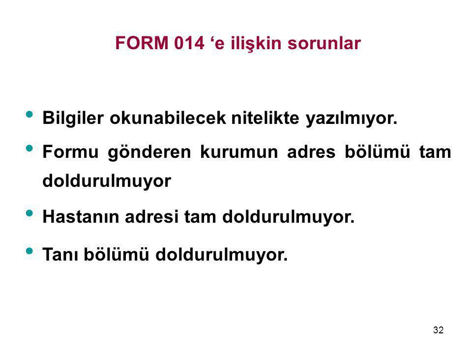 32 FORM 014 'e ilişkin sorunlar • Bilgiler okunabilecek nitelikte yazılmıyor. • Formu gönderen kurumun adres bölümü tam doldurulmuyor • Hastanın adres