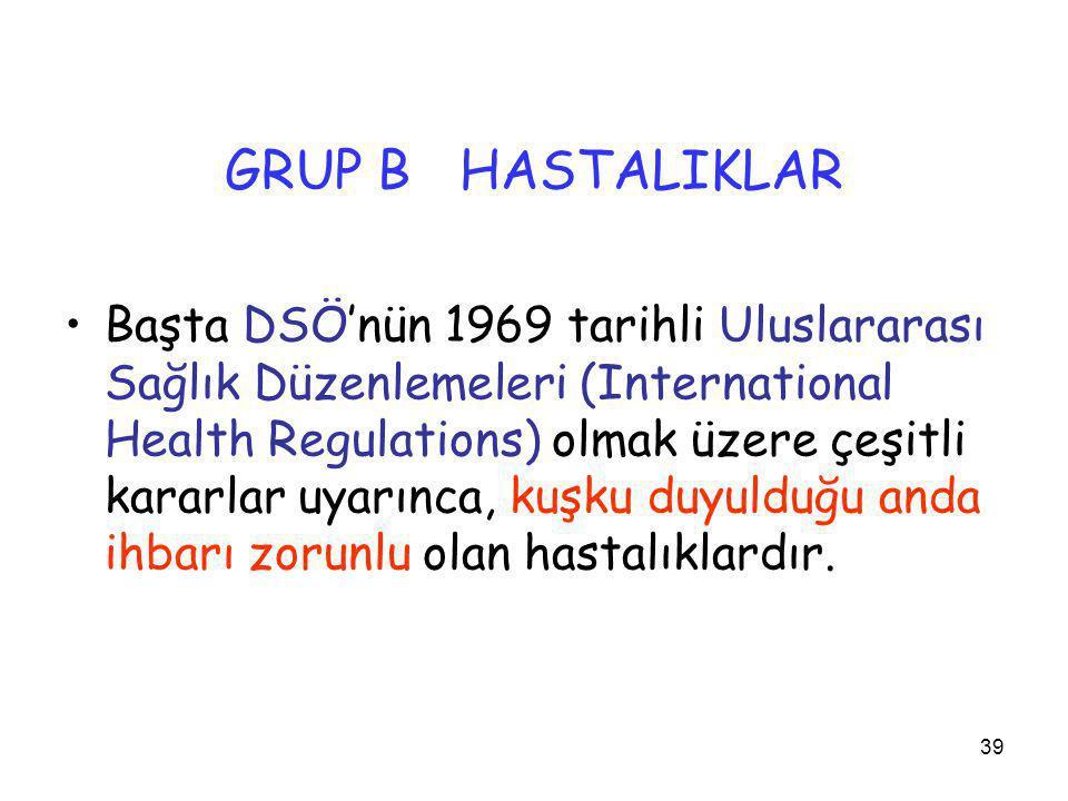 39 GRUP B HASTALIKLAR •Başta DSÖ'nün 1969 tarihli Uluslararası Sağlık Düzenlemeleri (International Health Regulations) olmak üzere çeşitli kararlar uy