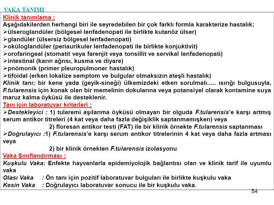 54 VAKA TANIMI Klinik tanımlama : Aşağıdakilerden herhangi biri ile seyredebilen bir çok farklı formla karakterize hastalık;  ülseroglandüler (bölges