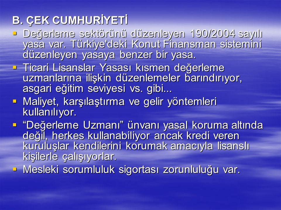 B. ÇEK CUMHURİYETİ  Değerleme sektörünü düzenleyen 190/2004 sayılı yasa var. Türkiye'deki Konut Finansman sistemini düzenleyen yasaya benzer bir yasa