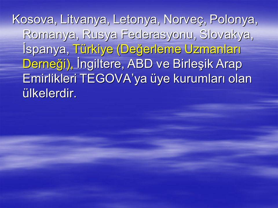 Kosova, Litvanya, Letonya, Norveç, Polonya, Romanya, Rusya Federasyonu, Slovakya, İspanya, Türkiye (Değerleme Uzmanları Derneği), İngiltere, ABD ve Bi