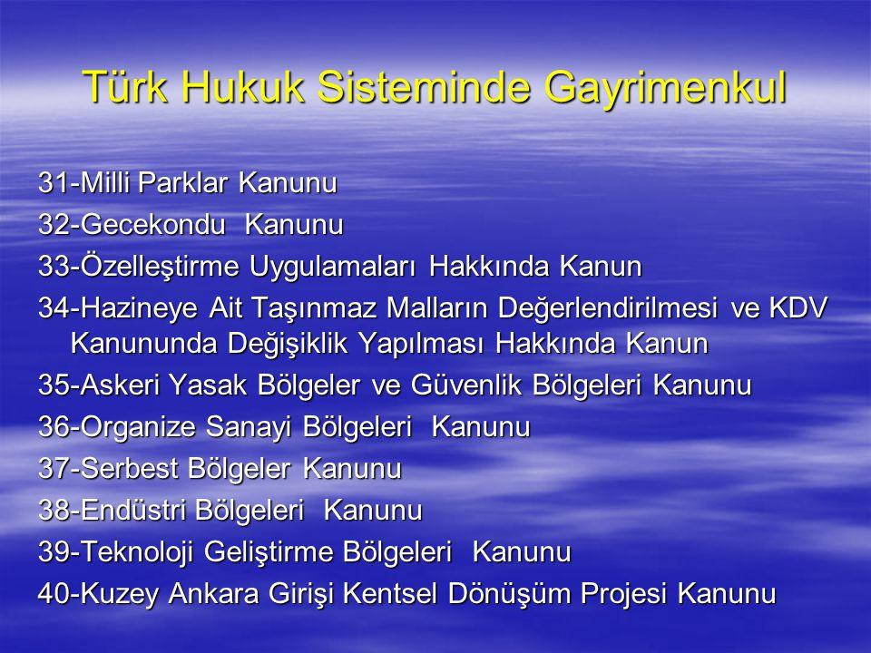 Türk Hukuk Sisteminde Gayrimenkul 31-Milli Parklar Kanunu 32-Gecekondu Kanunu 33-Özelleştirme Uygulamaları Hakkında Kanun 34-Hazineye Ait Taşınmaz Mal