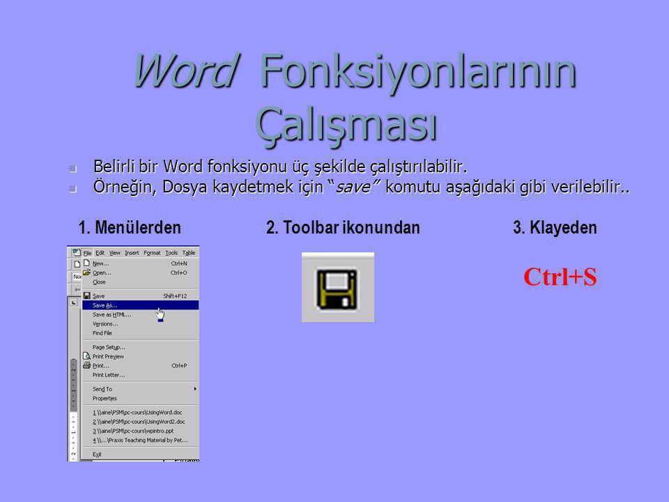 Word Fonksiyonlarının Çalışması Word Fonksiyonlarının Çalışması  Belirli bir Word fonksiyonu üç şekilde çalıştırılabilir.  Örneğin, Dosya kaydetmek