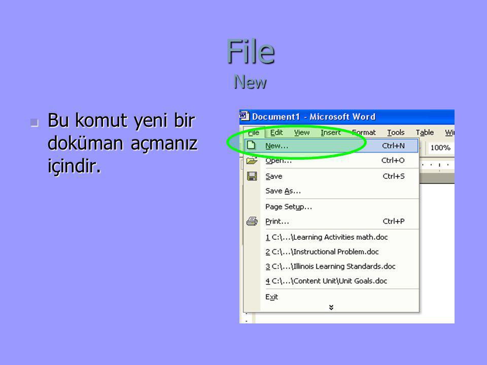 File N ew  Bu komut yeni bir doküman açmanız içindir.