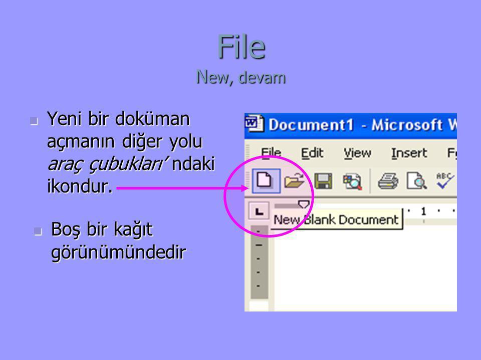 File N ew, devam  Yeni bir doküman açmanın diğer yolu araç çubukları' ndaki ikondur.  Boş bir kağıt görünümündedir
