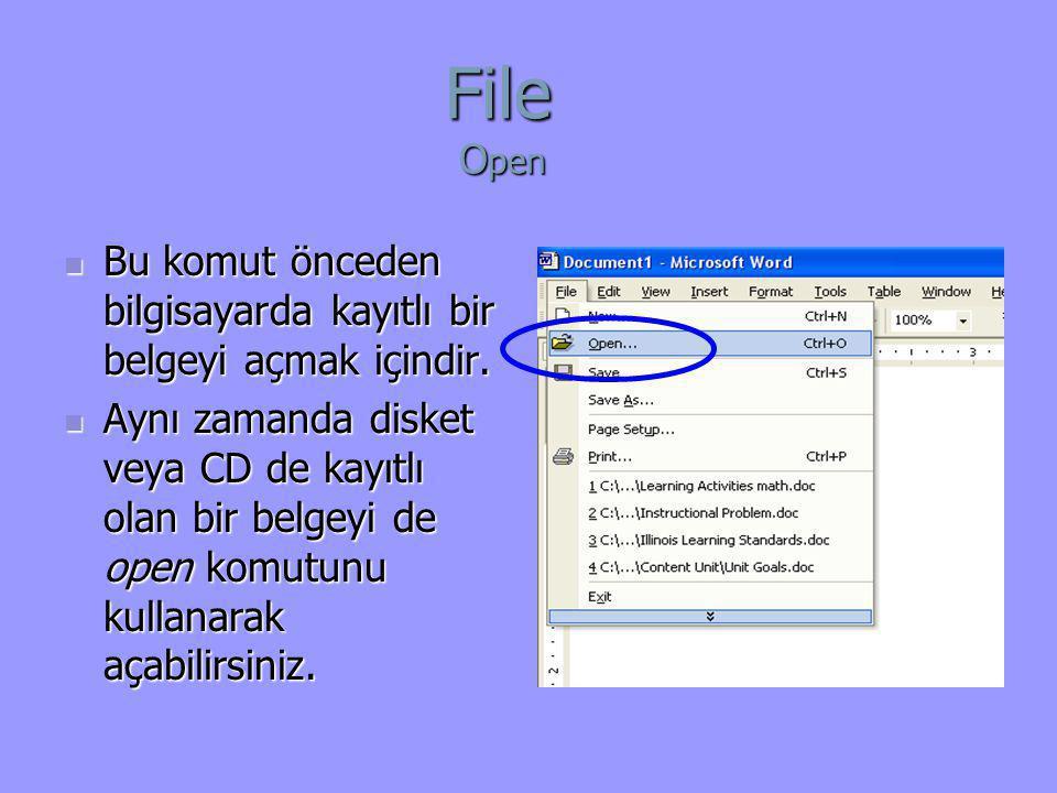  Bu komut önceden bilgisayarda kayıtlı bir belgeyi açmak içindir.  Aynı zamanda disket veya CD de kayıtlı olan bir belgeyi de open komutunu kullanar