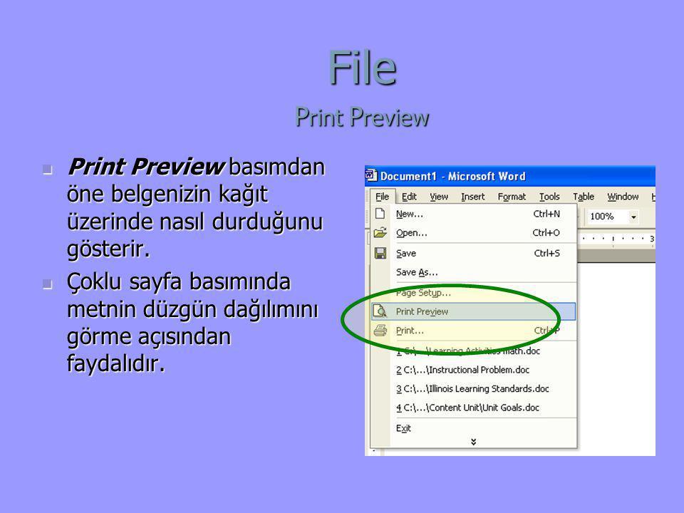  Print Preview basımdan öne belgenizin kağıt üzerinde nasıl durduğunu gösterir.  Çoklu sayfa basımında metnin düzgün dağılımını görme açısından fayd