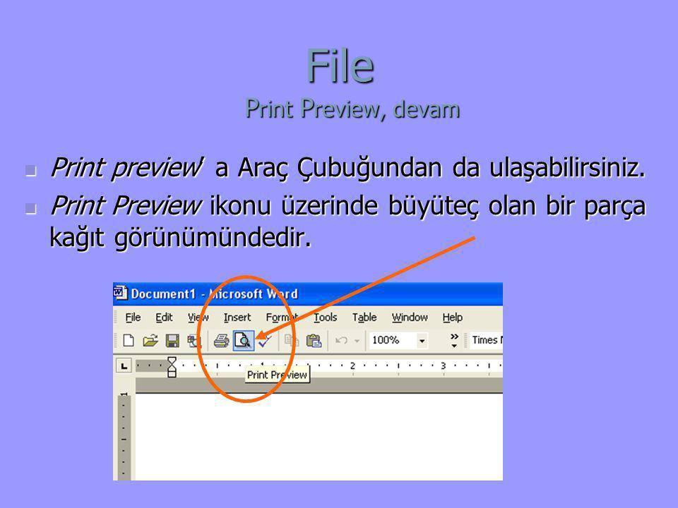  Print preview' a Araç Çubuğundan da ulaşabilirsiniz.  Print Preview ikonu üzerinde büyüteç olan bir parça kağıt görünümündedir. File P rint P revie